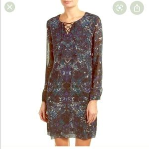 Cabi print silky tunic style lace front dress XL